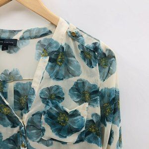 The Limited Tops - The Limited Sheer Long Sleeve Floral Blouse 276
